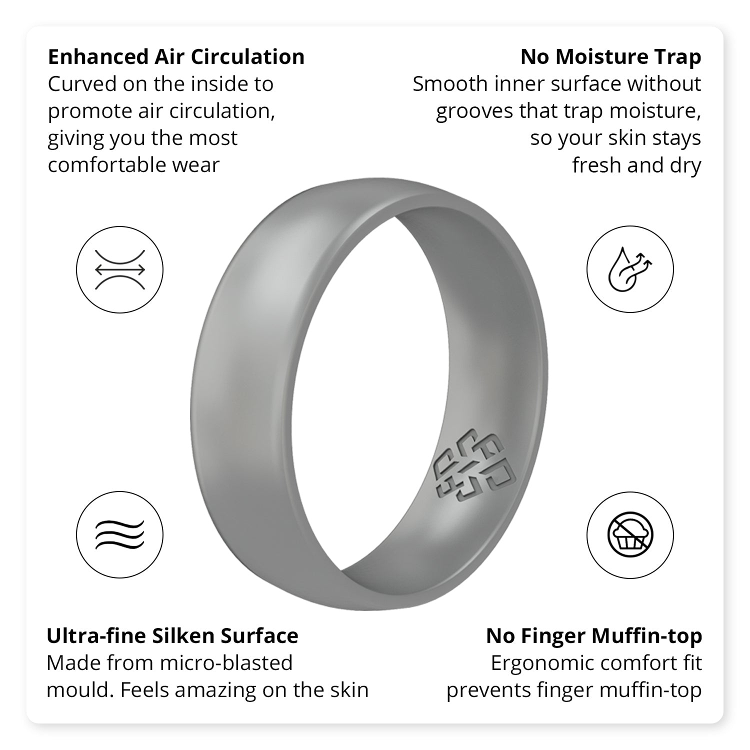 Smooth Silver Breathable Silicone Ring For Men and Women