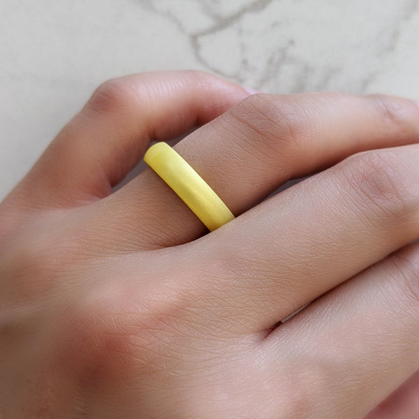 Pearl Yellow Domed Comfort Fit Silicone Ring Woman