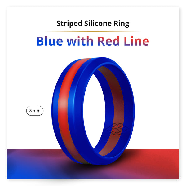 Blue and Red Stripe Silicone Ring For Men and Women