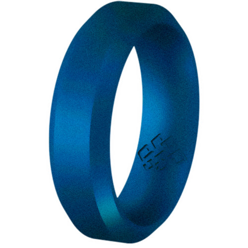 Midnight Blue Bevel Comfort Fit Silicone Ring Man Woman