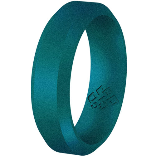 Lagoon Teal Bevel Edge Breathable Silicone Ring For Men