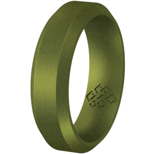 Crocodile Earth Green Bevel Comfort Fit Silicone Ring Man Woman