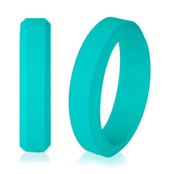 Knot Theory Elegant Teal Turquoise Silicone Wedding Rings for Woman – Blue Green 5mm or 6mm Bandwidth