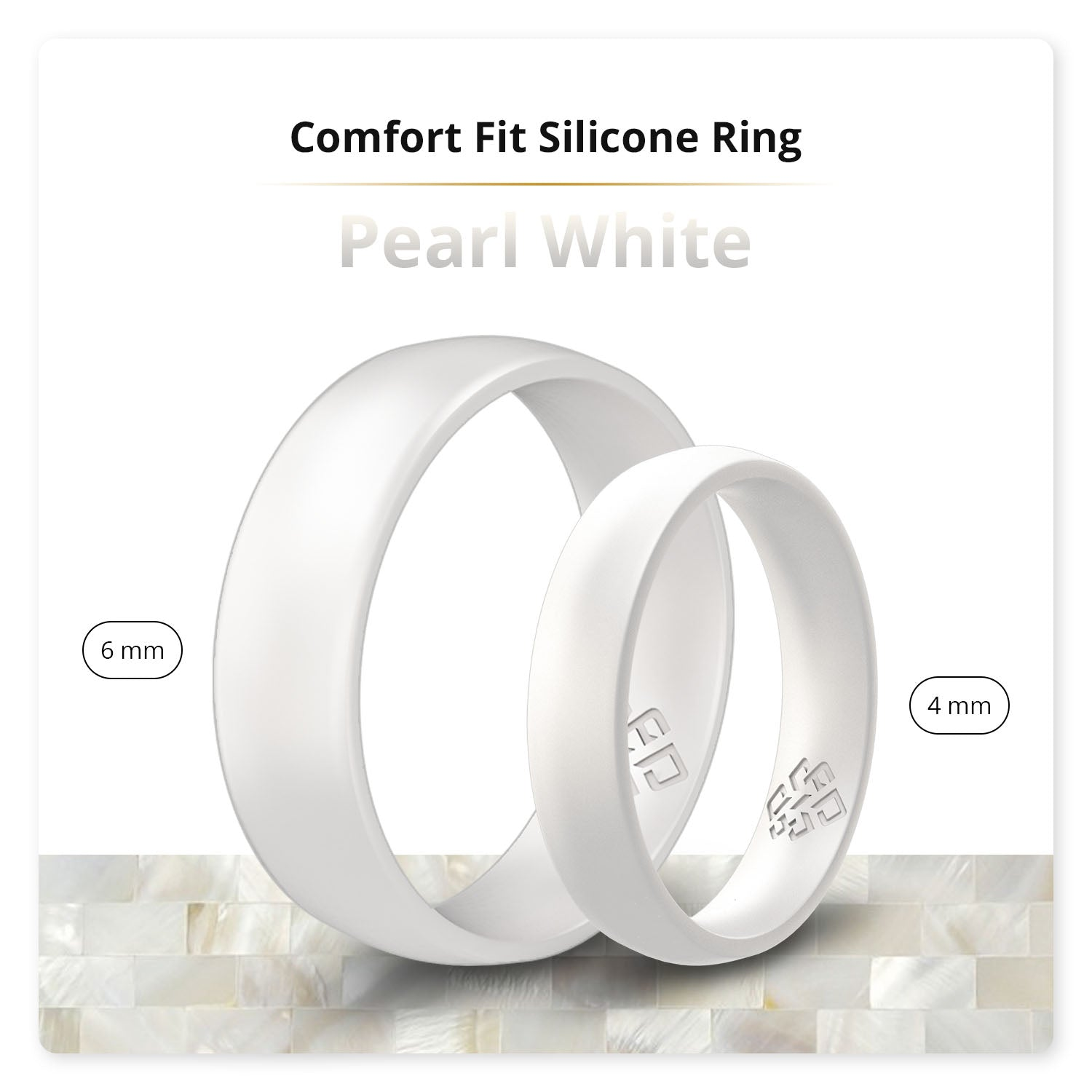 Pearl White Domed Comfort Fit Silicone Ring Man Woman