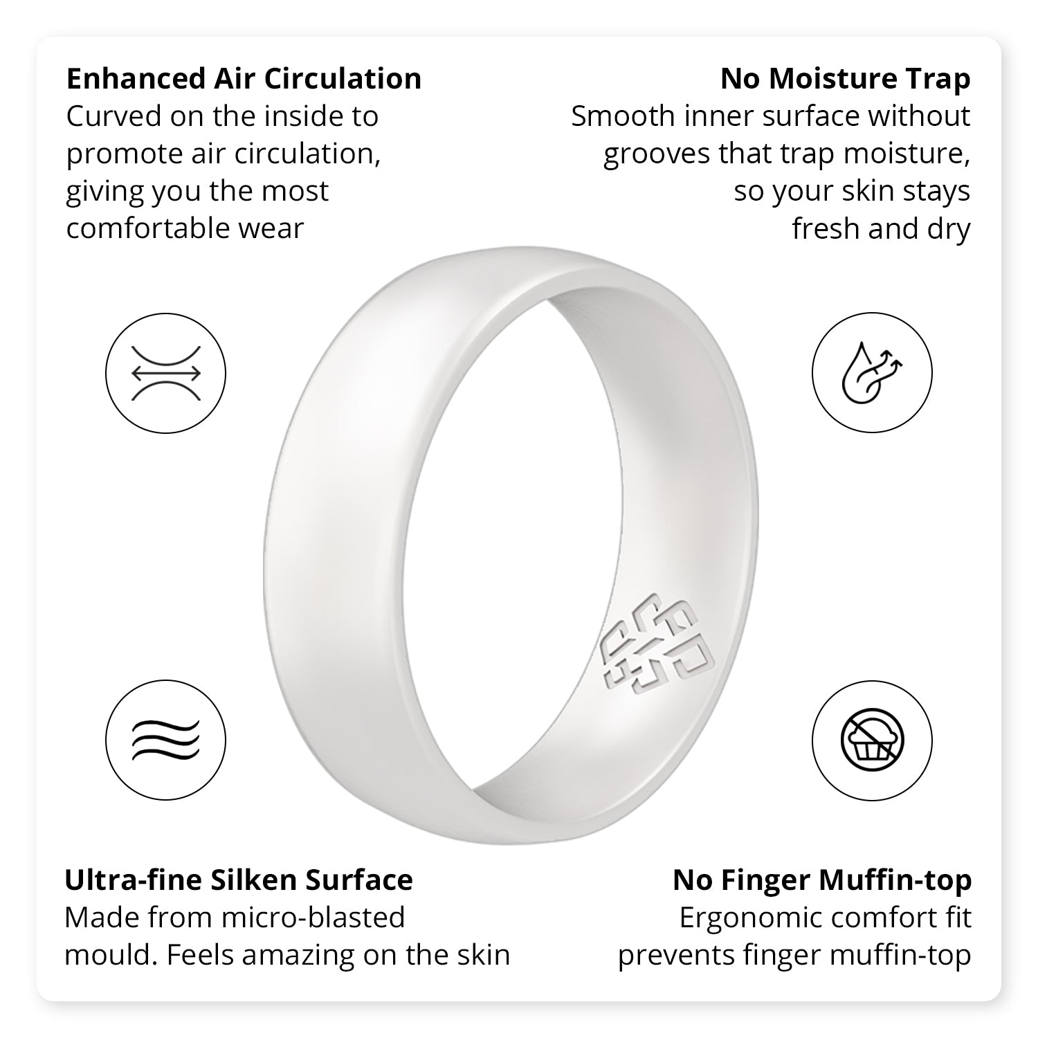 Pearl White Breathable Silicone Ring For Men and Women