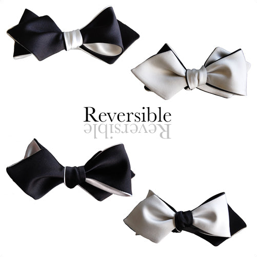 Black and White 4-way Diamond Point Self-tying Bow Tie