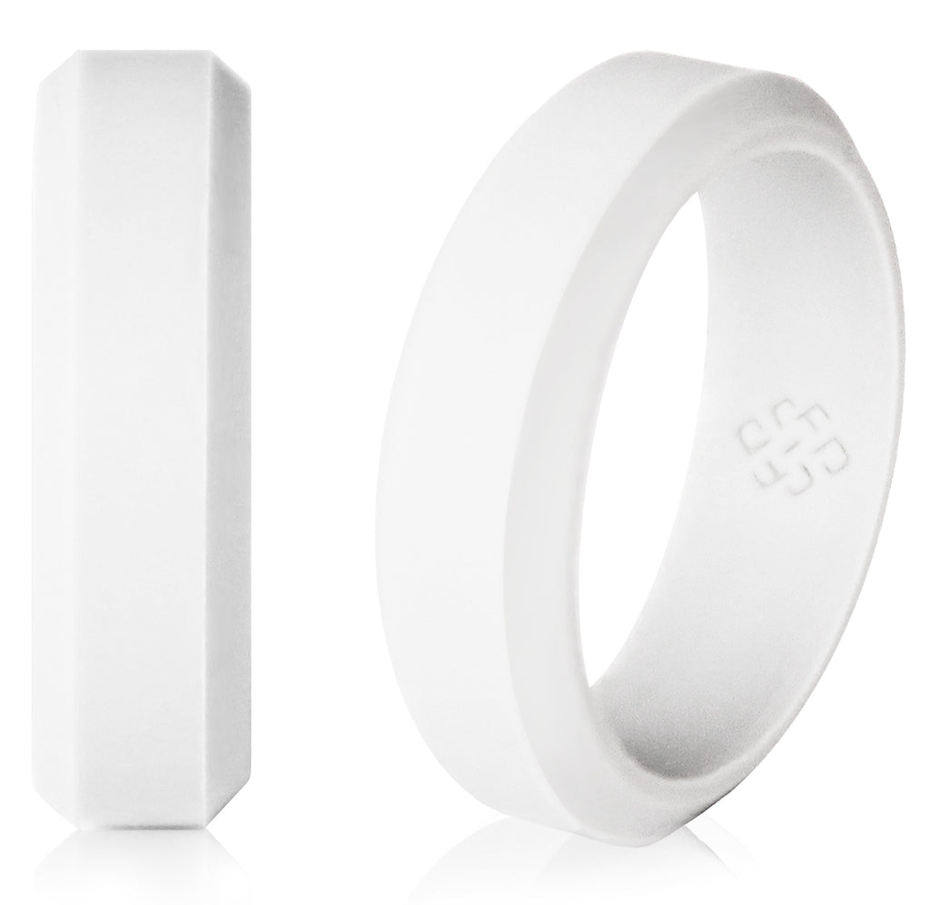 Knot Theory Sleek Silicone Wedding Band in White  - 6mm or 8mm Bandwidth