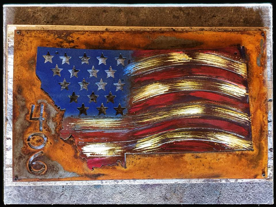 Montana Flag on Wooden Plaque