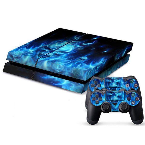 PS4 Blue Skull Vinyl Decal Skin With Controller Skins - The Trendinator