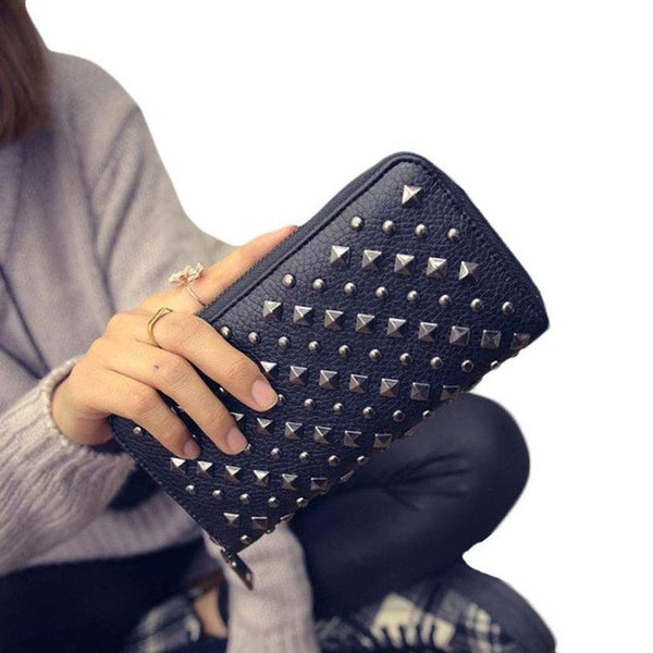 Woman's Long Punk Rivet Wallet - The Trendinator