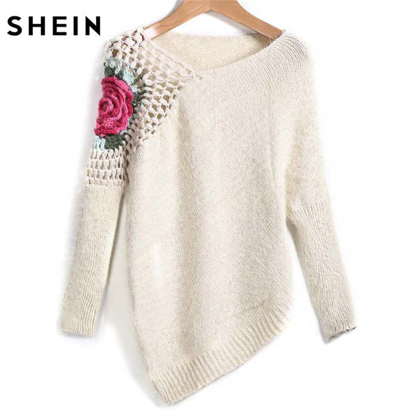 SHEIN Apricot Round Neck Floral Crochet Loose Sweater - The Trendinator