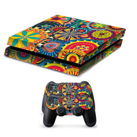PS4 Colorful Floral Painted Vinyl Decal Skin With Controller Skins - The Trendinator