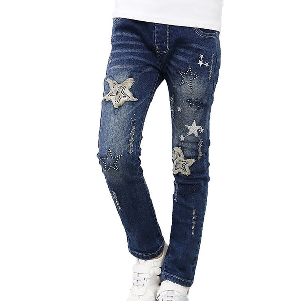 Girls High Quality Patchwork Denim Jeans - The Trendinator