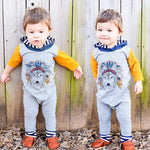 Boy's Indian Wolf Hooded Romper