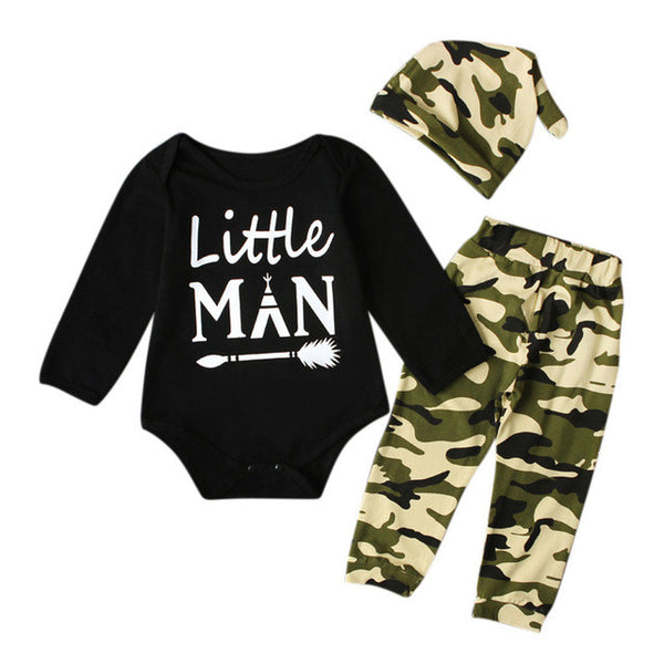 "Baby Boy's 3pc ""Little Man"" Romper + Camouflage Pants + Cap Outfit - The Trendinator"