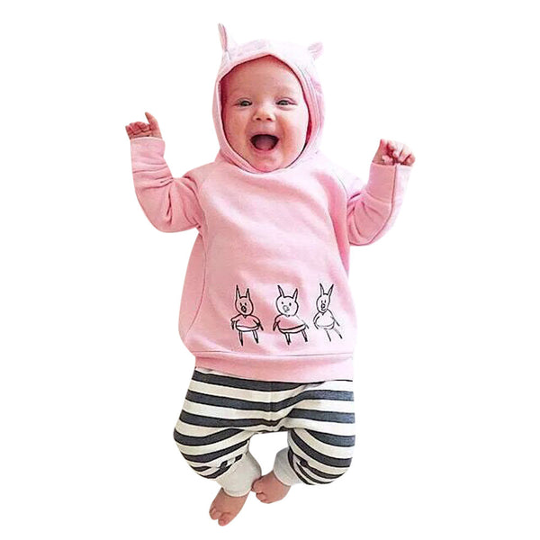 Cute Pig Printed Pink Girl's Casual Hoodie + Pants 2Pc Outfit - The Trendinator