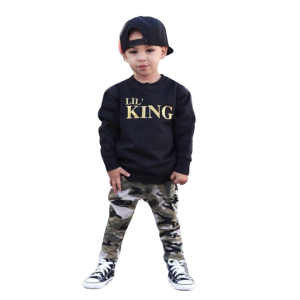 "Children's ""Lil King"" Camo Clothing Set - The Trendinator"