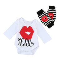 Baby Girl's Lip Print Romper + Leg Warmer Outfit - The Trendinator