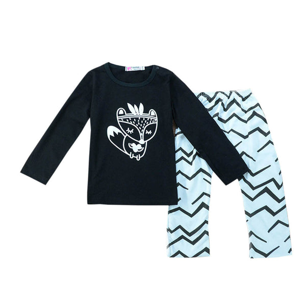 Baby Boy Long Sleeve Fox Shirt + Harem Pants Outfit - The Trendinator