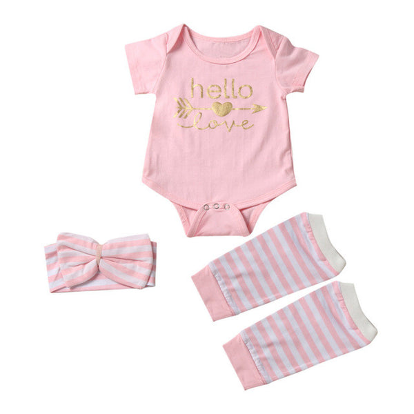Baby Girl 3pc Short Sleeve Arrow Romper + Striped Leg Warmers + Headband Outfit - The Trendinator