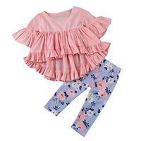 2pcs Ruffle Long Sleeve Girls Outfit - The Trendinator
