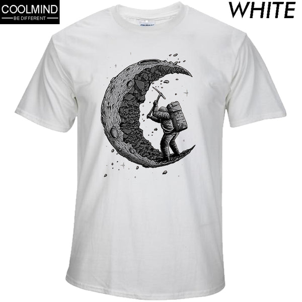 100% Cotton Digging The Moon Print Men's T-Shirts
