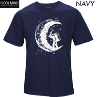 100% Cotton Digging The Moon Print Men's T-Shirts - The Trendinator