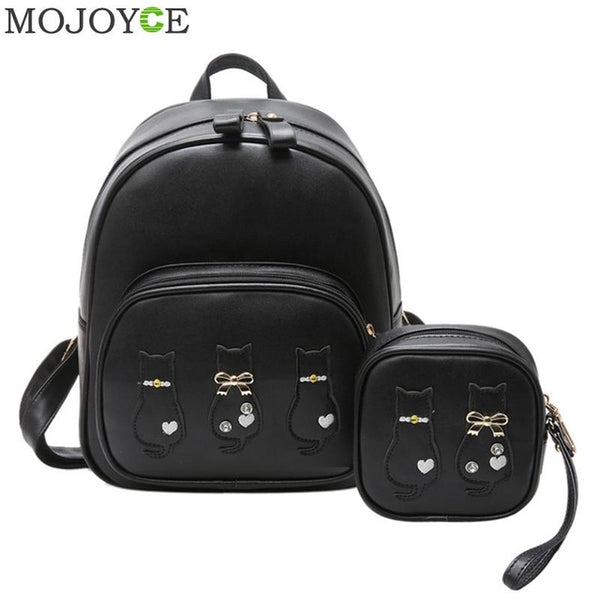2pcs/set Women's Leather Rucksack Backpack With Purse - The Trendinator