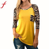 Women's Leopard Print Splicing Pocket Yellow Blouse - The Trendinator