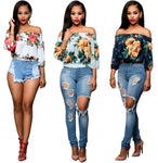 Women's Vintage Floral Print Off Shoulder 3/4 Sleeve T- Shirt Tops - The Trendinator