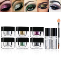 RUIMIO 6-Color Loose Eye Glitter Powder & 2 Fix Gel & Eye Shimmer Brush - The Trendinator