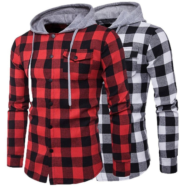 Men's Plaid Long Sleeve Hooded Shirt