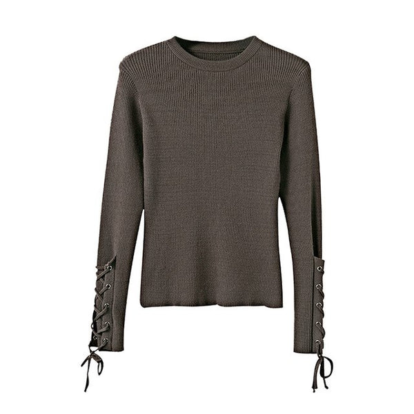 FATIKA New Women's Fashion Knitted  Sweater With Lace-up Sleeves - The Trendinator