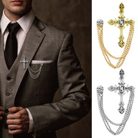 Men's Rhinestone Cross Chain Brooch - The Trendinator