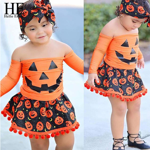 HE Hello Enjoy Girls 3PCS Pumpkin Outfit