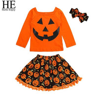 HE Hello Enjoy Girls 3PCS Pumpkin Outfit - The Trendinator