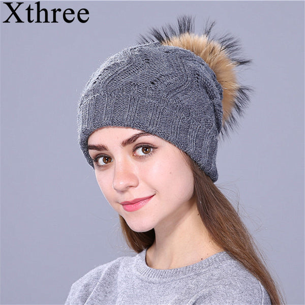 Xthree Women's Raccoon Fur Pom Pom Knitted Beanie - The Trendinator