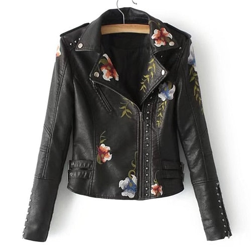 Sheinside Flower Embroidery Leather Jacket - The Trendinator