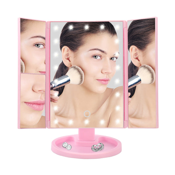Circular Bottom 22 LED Makeup Mirror Lighted Touch Screen Magnifying 1X 2X 3X 180 Rotating 3 Folding Mirror - The Trendinator