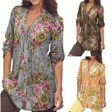 Women's Vintage Floral Print V-neck Tunic Tops - The Trendinator