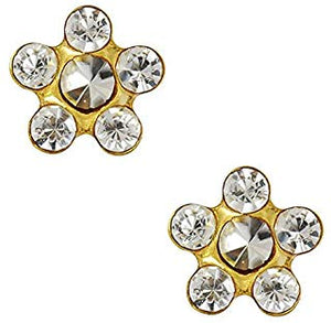 1 PR. 24 K GOLD STAR SHAPE CRYSTAL WHITE EARRING WITH CRYSTAL CENTER