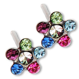 1PR 24K GOLD STAR SHAPE MULTI-COLOR EARRING WITH CRYSTAL CENTER