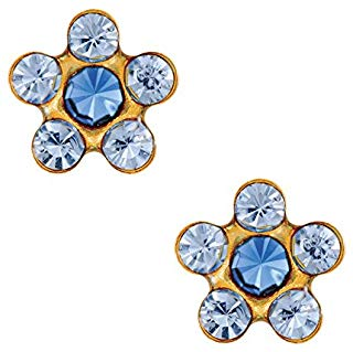 1 PR. 24 K GOLD STAR SHAPE LIGHT SAPHIRE EARRING WITH SAPHIRE CENTER