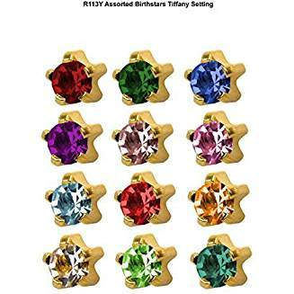 BIRTHSTONE EARRINGS GOLD AND SILVER TIFFANY SETTING (STAR SHAPE)