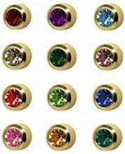BIRTHSTONE EARRINGS 24k GOLD AND SILVER BEZEL SETTING (ROUND SHAPE)