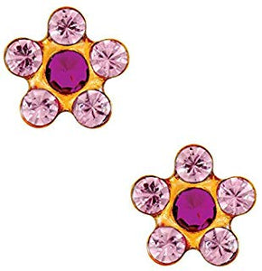 1 PR. 24 K GOLD STAR SHAPE PINK ROSE EARRING WITH ROSE CENTER