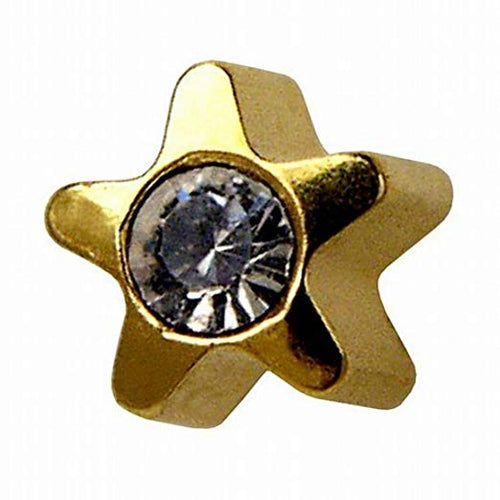 4mm 24k Gold Plated Star  Earring With Crystal Center