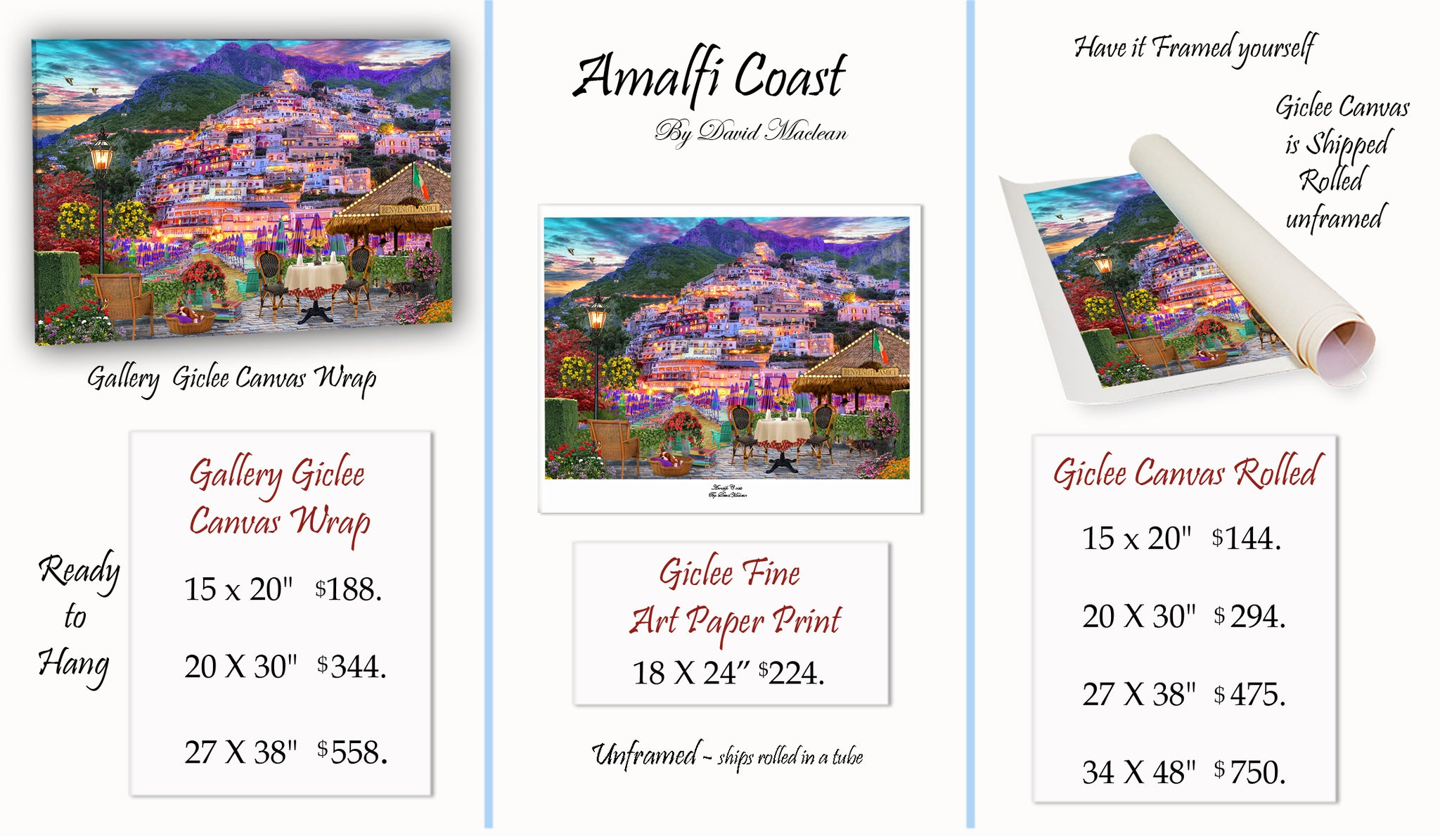 Amalfi Coast  ________________________ Order Options Here