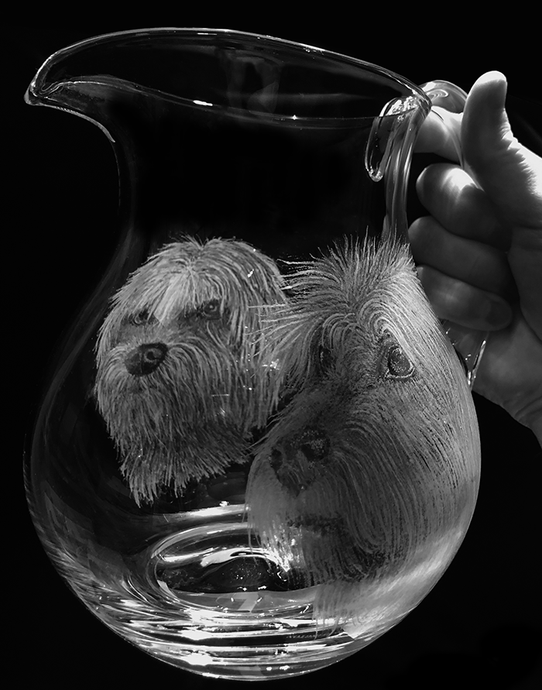 beautiful engraved crystal jug with two dogs commission special gift