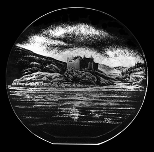 "Castle Tioram in Scotland Specialist Hand Engraved a 7"" Optical Crystal Disc"